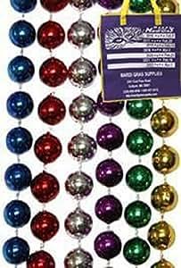 "Mardi Gras, Assorted Metallic Colored Beads, 12 mm, 48"", 1 Dozen (12pcs)."