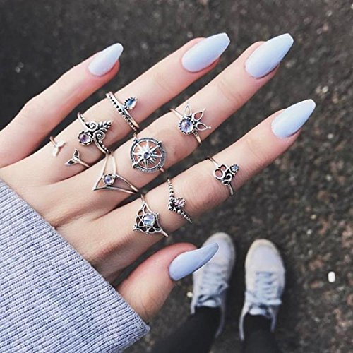 DDLBiz 9pcs/Set Women Vintage Bohemian Silver Stack Rings Above Knuckle Rings Set Jewelry Gift (Silver)