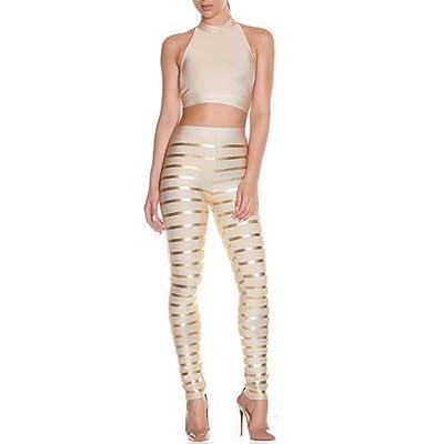 S Curve Women's 2 Piece Bandage Pants and Crop Top Set
