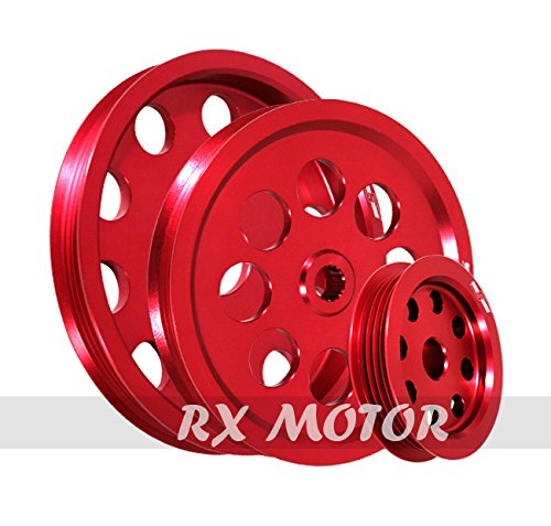 RB20 RB25 RB26 Engine Only Fit Nissan Aluminum Water Pump//Power Steering//Alternator Crank Pulley Wheel Kit Red