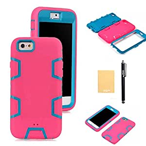 "XIQI(TM) Armor Defender Case Robot Design For iPhone 6(4.7""),with Screen Protector,free stylus,cleaning cloth JQR Hot Pink Blue"