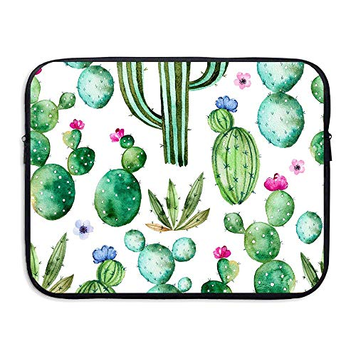 Laptop Sleeve Case Cactus Plants Spikes Cartoon Like Art Print White Light Pink and Lime Green Neoprene Laptop Case 13-15 Inch for Dell/Ausu/ Acer/HP/ Toshiba/Lenovo (Lime Green Laptop Case 13)