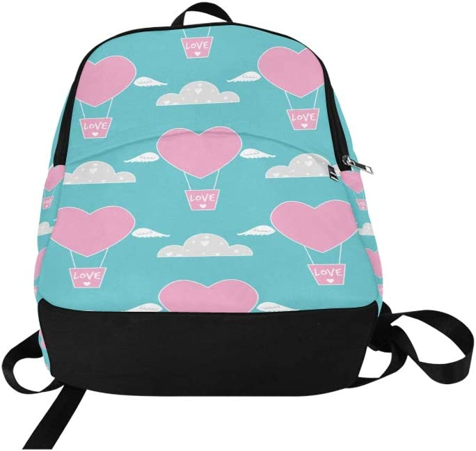 Limiejo Hanging Makeup Travel Bag Cute Heart Shaped Hot Air Balloon Durable Water Resistant Classic Girl Daypack Traveling Bag for Women Bag for Hiking Women Boys Hiking Bag