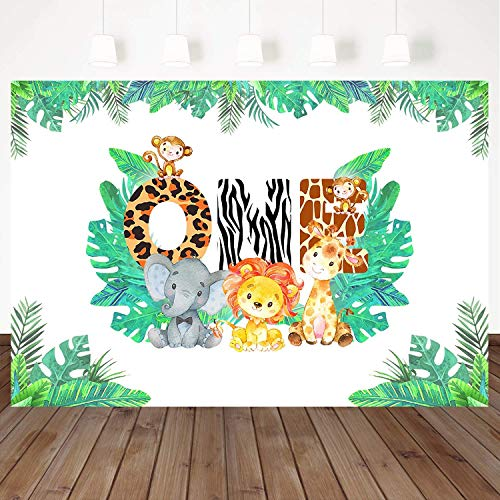 Mehofoto Jungle Theme Background 1st Birthday Backdrop Safari Animals Zoo Background for Boy 7x5ft Lion Giraffe Elephant Monkey, Animals Boy Baby First Birthday Party Banner -
