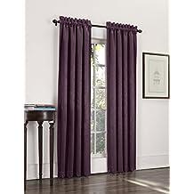 Sun Zero Cadence Velvet Textured Woven Blackout Curtain Panel, 52 by 95-Inch, Eggplant
