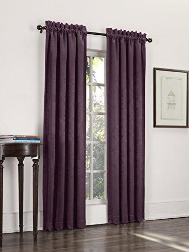 Sun Zero Cadence Velvet Texture Blackout Curtain Panel, 52″ x 63″, Eggplant Purple