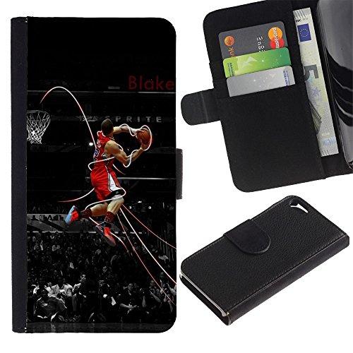 Funny Phone Case // Cuir Portefeuille Housse de protection Étui Leather Wallet Protective Case pour Apple Iphone 5 / 5S /Basket Légende/