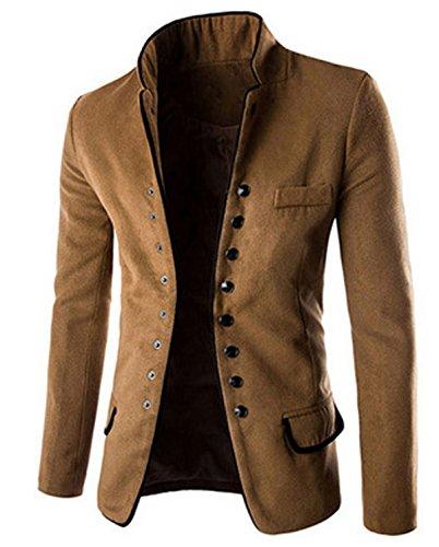 LANMWORN Men Suit Jacket Single Breasted Retro Thicken Woollen Mandarin Collar Chinese Tunic Suit Coat Blazer Outwear