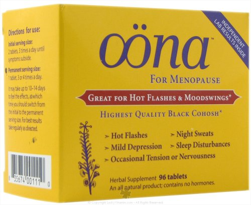 Oona Herbal Supplement for Menopause, with Black Cohosh and Vitex , Tablets 96