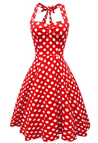 [Anni Coco Women's Halter Polka Dots 1950s Vintage Swing Tea Dress - Large - 1st - Red & White Dots] (Halter Stretch Costumes)