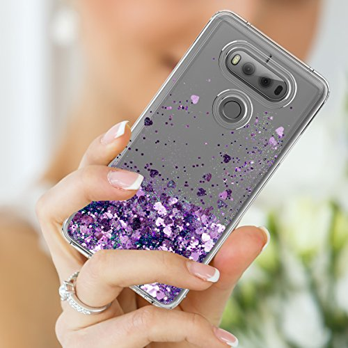 LG V20 Case,Shiny Glitter Moving Liquid Clear with TPU Bumper Protective Back Cute Girls Case for LG V20 Purple