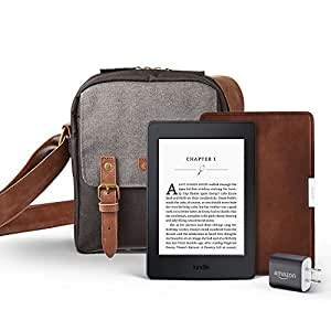 """Kindle Paperwhite Travel Bundle including Kindle Paperwhite 6"""" E-Reader, Black with Special Offers, Amazon Premium Leather Cover, Power Adapter, and free caseable Travel Bag in Black/Grey"""