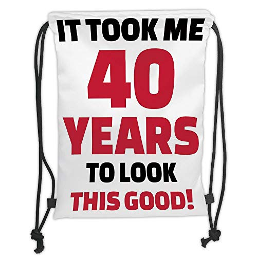 New Fashion Gym Drawstring Backpacks Bags,40th Birthday Decorations,Forty Years and Looking Good Confident Catchphrase,Dark Coral Black White Soft Satin,Adjustable String Closure, -