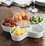 Durable White Ceramic Serving Platter, Divided Serving Tray for Appetizers, Salad Bar with Bamboo Toothpick Holder, Five Sectional Flower Design.