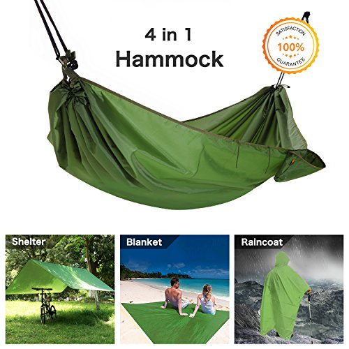 Coat Tent (Multifunction Camping Hammock, 4 In 1 Outdoor Camping Hammock - Multifunction Waterproof Hammock Rain Fly Tent Tarp - Camping Blanket - Raincoat for Camping Picnic Blanket Hiking Outdoors Activities)