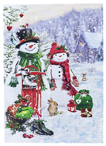 Oak Street Snowman Family with Bunny Rabbits Winter LED Art 8