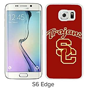 NCAA Pacific Conference Pac Football USC Trojans White Samsung Galaxy S6 Edge Screen Cover Case Luxurious and Fashion Design
