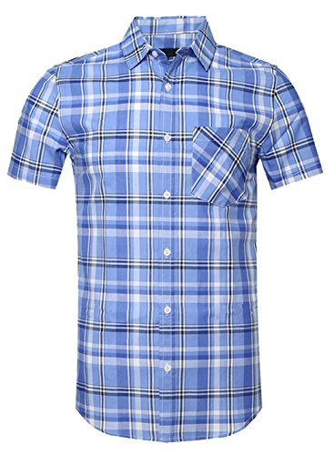 SOOPO Mens Casual Regular Fit Short Sleeve Plaid Checked Shirts B-Blue Large ()