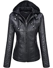 Tanming Women's Removable Hooded Faux Leather Jackets