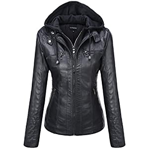 Women's Removable Hooded Faux Leather Jacket – Tanming