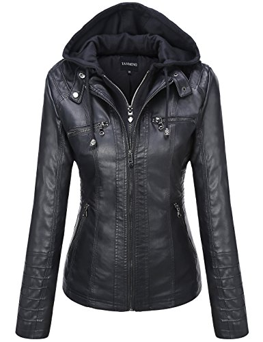 Tanming Women's Removable Hooded Faux Leather Jackets (X-Large, Black) (Womens Brown Leather Bomber Jacket With Hood)
