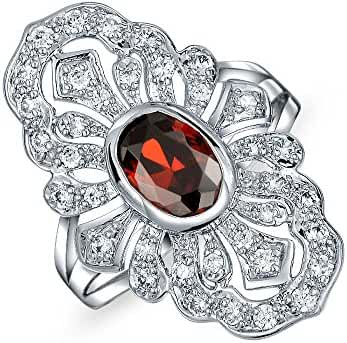 Bling Jewelry Rhodium Plated Art Deco Style Cubic Zirconia Armor Ring