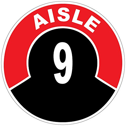Aisle 9 Red Black Anti-Slip Floor Sticker Decal 17 in longest side (Store Aisle Signs)