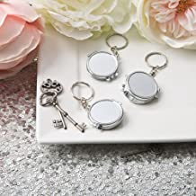Perfectly plain collection silver metal compact mirror key chain by Fashioncraft