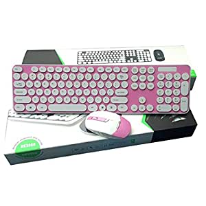 jelly color wireless keyboard and mouse combo bright color silent click round key. Black Bedroom Furniture Sets. Home Design Ideas