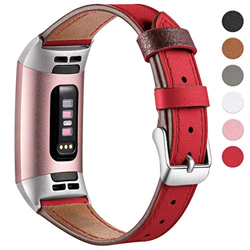 Maledan Compatible with Fitbit Charge 3 Bands for Women Men, Small, Red