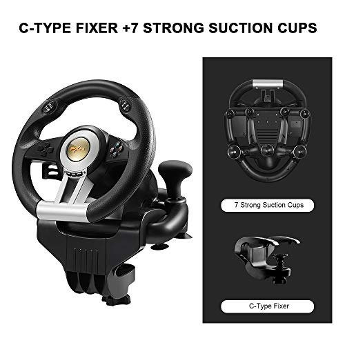 PC Racing Wheel, PXN V3II 180 Degree Universal Usb Car Sim Race Steering Wheel with Pedals for PS3, PS4, Xbox One,Xbox…