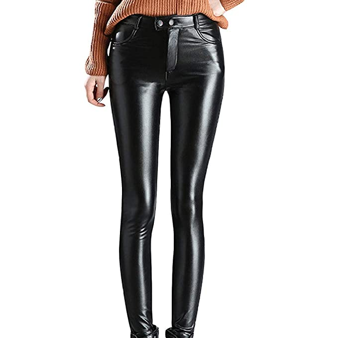 5cf29880aa75c Image Unavailable. Image not available for. Color  HIENAJ Women s High  Waist Faux Leather Pants ...