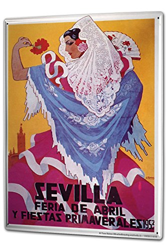 Tin Sign XXL Travel Kitchen Sevilla Flamenco in 1953 by LEOTIE