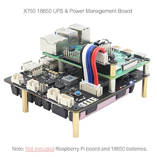 Geekworm Raspberry Pi UPS, Raspberry Pi 4B/3B+/3B 18650 UPS & Power Management Expansion Board X750 Shield with Auto Power-on for Raspberry Pi 4 Model B/3B+/3B (Only X750 Board)