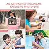 Kids Camera for Girls and Boys, Digital Dual Camera 2.0 Inches Screen 20.0MP Video Camcorder Anti-Drop Children Selfie Cartoon Camera Toys for Gift - 32GB Memory Card Included