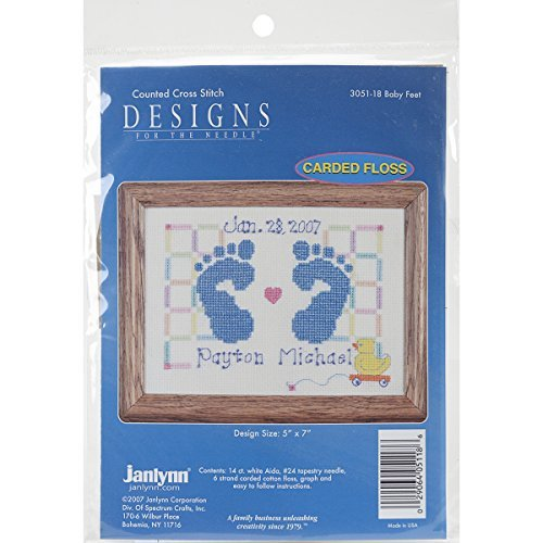 - Janlynn Counted Cross Stitch Kit, Baby Feet Birth Announcement by Janlynn Corp.