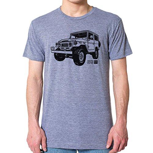 GarageProject101 Toyota FJ40 Land Cruiser T-Shirt L Athletic Gray (Toyota Land Cruiser Prado For Sale In Usa)