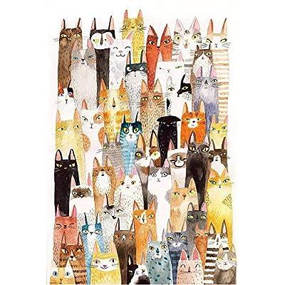 Jqchw The Cats Jigsaw Puzzle Cartoon Pattern Puzzle 1000 Pieces Wooden Puzzle Adult Entertainment Puzzles Kids Educational Toys Decompression Intelligence Toys Home Puzzle Game Jigsaw Puzzle: Toys & Games
