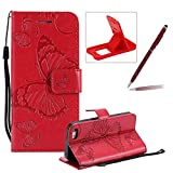 Strap Leather Case for iPhone SE,Wallet Leather Case for iPhone 5S,Herzzer Premium Stylish Pretty 3D Red Butterfly Printed Bookstyle Magnetic Full Body Soft Rubber Flip Portable Carrying Stand Case with Card Holder Slots