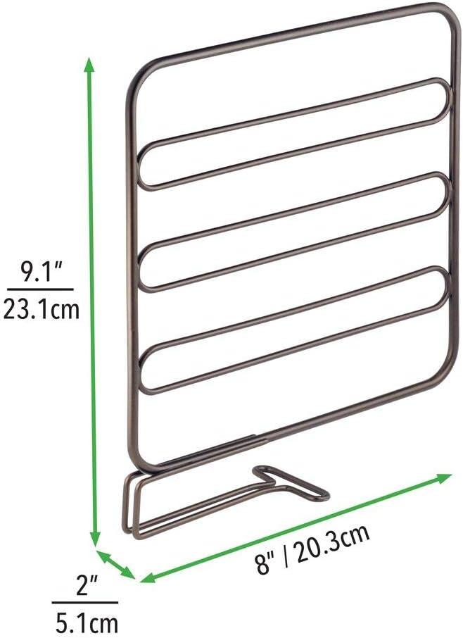 bronce Sistema sencillo para colocar sin tornillos mDesign Juego de 8 separadores met/álicos para organizar armarios y estanter/ías Pr/ácticos divisores de estantes y repisas