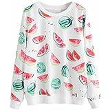 FDelinK Women Teen Girls Casual Crew Neck Watermelon Print Long Sleeve Pullover Sweatshirt T-Shirt Tops