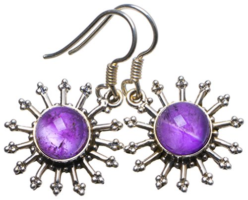 StarGems(tm) Natural Amethyst Handmade Unique 925 Sterling Silver Earrings 1.25