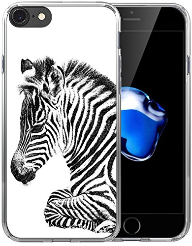 Case for Iphone 8 Zebra/ IWONE Apple Iphone 7 Protector Iphone 8 Cover Skin Protective Protector TPU Rubber Clear + Zebra (Zebra Design Protector Case)