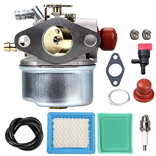 (LIYYOO 640025A Carburetor + Air Filter Tune Up Kit for Tecumseh 640135A 640004 640014 640025 640017 640117 640104 OHH50 OHH55 OHH60 OHH65 5.5HP Engine Lawn Mower Pressure Washer Snow Thrower Carb )