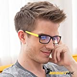 HornetTek YEL107 Computer & Gaming Glasses with Blue Light Protection & UV Filter Eyewear Light Weight Frame Crystal Lens