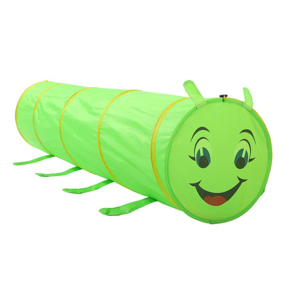 Zhangcaiyun-Toys Carpa Infantil Caterpillar Tunnel Play Tent Niños Niños Indoor Outdoor Juguetes Plegables Playhouse Green Bebés y niños pequeños Juegos de imitación Mobiliario y materiales para educación temprana