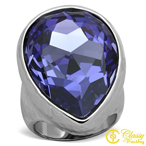 Classy Not Trashy Women's Fashion Jewelry Ring, Premium Grade Stainless Steel Purple Top Grade Crystal Pear Cut Hammered Texture Ring Size 5 from Classy Not Trashy