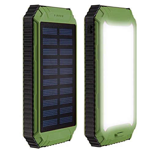 uxcell 12000mAh Solar Power Bank Charger Waterproof Portable Backup External Battery Pack with 2 USB Port + Flashlight + Carabineer + Compass for Cellphone,Camera at Emergency Outdoors