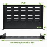 "NavePoint Universal Rack Tray Vented Shelves 1U Black 10.5"" (270mm deep) No Lip"