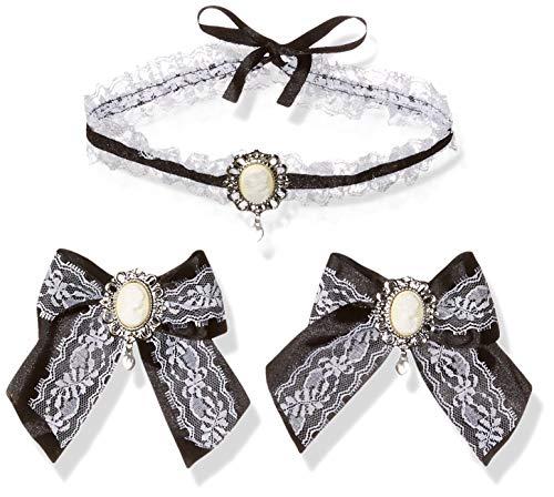 Leg Avenue Bustier - Leg Avenue Cameo Choker & Hair Bows (2 Piece), One Size, Black/White